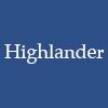 morgynleri: the word highlander in white over a dark grayed blue (highlander)