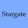 morgynleri: the word stargate in black over blue (stargate)