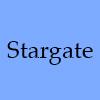 morgynleri: the word stargate in black over blue (stargate)