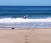 sarahkbee: Beach and blue sea with swimmer in the waves (Inverallochy)