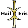 "fifthtrinity: A gold 5-fingered Hand of Eris with the words ""Hail Eris"" on its sides. (Hail Eris hand icon)"