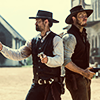 apollymi: Faraday and Vasquez fighting back to back, no text (Mag7**Vasquez/Faraday: Shootout)