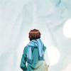 carrie: He's got his back to you, scarf to ward off the cold. (kyon cold shoulder)