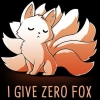 "librarygeek: Cartoon drawing of a nine tailed Fox, or kitsune, with the caption of ""I give zero fox"" (Kitsune)"