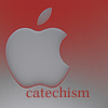 catechism: gray apple logo on a background that fades from red to gray (top to bottom). red text reads 'catechism' at the bottom. (mac)