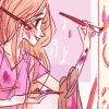 rynet_ii: Rapunzel working on a painting. She's covered in paint smears and has a spare paintbrush tucked behind her ear. (I probably drew something)