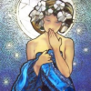 tralalablinkblink: painting of a woman in front of the moon hiding her smile with her hand (by misbegotten, mucha blue moon)