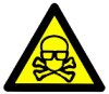 mithriltabby: Warning sign: skull with lab safety glasses (Brainiac)