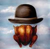 mithriltabby: Bowler hat over roast chicken (Eats)