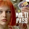 "christomanci: Lelu from the movie The Fifth Element holding up a Multi Pass with the words ""Multi Pass"". ([Fifth Element] Multi Pass)"