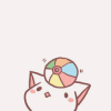 grassangel: a pastel and cute cat balancing a multi-coloured ball on its head (never mind, cute, sorry - you were saying?) (Default)