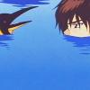 grassangel: Kinomoto Touya from Cardcaptor Sakura staring at a penguin whilst in nose-high water (ehh what, what, this makes no sense)
