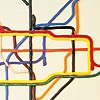 ysilme: Detail of London underground plan made from thick ropes of oil colour (Tate by tube)