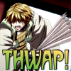 tephra: Sanzo from Saiyuki having just swatted someone with his fan (THWAP)