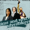 "shinyjenni: Eighth Doctor, Fitz and Anji; text reads: ""time and space adventurers"" (time and space adventurers)"