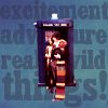 "shinyjenni: Fourth Doctor and Leela coming out of the TARDIS; background text reads: ""excitement adventure really wild things"" (really wild things)"