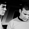 hollyslowly: TOS; Kirk looking down, Spock looking at Kirk. (Anybody ever love you that much?)