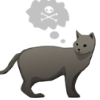 thanatomimesis: drawing of a black cat with a skull and crossbones in a thought bubble above its head (misc: cat & crossbones)