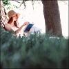 scordatura: (person: book in field)