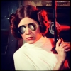 """glowkitty: Princess Leia holding a blaster, with George Michael's """"Faith"""" sunglasses superimposed on her face (...the hell?)"""