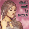 """larryhammer: a woman wearing a chain mail hoodie, label: """"chain mail is sexy"""" (fantasy)"""