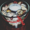 rainbowribbonvisions: Candle unlit in rock-glass holder bowl (Candle 1)