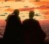 starbird_jinnobi482: Here we see Master Qui-Gon Jinn and Padawan Obi-Wan on a balcony looking at the firery sunset in the Phantom Menace. (jinnobi)