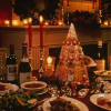 lark_in_flight: image of a festive Christmas table, with food and wine and candles & a tall centerpiece made out of desserts (la fête)