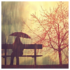bellflower: A woman sits under an umbrella besides a red tree ([Misc] Rainy days)
