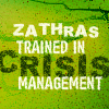 mousme: A text icon, white text on green, that reads Zathras trained in crisis management (Crisis Management)
