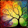 quizzical: swirly tree with primary colours (Default)