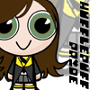 "fueschgast: PotterPuffs-style drawing of me in Hufflepuff robes, text reads ""Hufflepuff pride"". (watching TV (Futurama))"