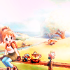 anaraine: Pony, from Another Wonderful Life, sitting on a fencepost and chatting with the Harvest Sprites. ([harvest moon] sitting on a fencepost)