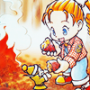 anaraine: Ann, from Back to Nature, roasting chestnuts over an open fire and sharing her food with the harvest sprites. ([harvest moon] chestnuts roasting)