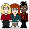 gutterblack: Cute pixel drawing of Rose, Martha and Donna. (Redscharlach - Threesome)