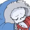 sansational: Sans as a babybones, curled up in his coat and looking mildly disgruntled ([Babybones] Sleepy and grumpy)