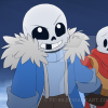 sansational: Sans as a babybones, holding Papyrus' hand and smiling with a gap in his teeth ([Babybones] Gap-toothed smile)