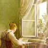 scribblesinink: Girl in the window painting (neutral girl in window)