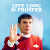 "sixbeforelunch: movie era spock giving the ta'al salute, text reads, ""live long and prosper"" (trek - movie era spock)"