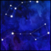 jenett: Big and Little Dipper constellations on a blue watercolor background (constellations)