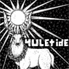 "sage: a white stag on a black background, captioned ""Yuletide"" (yuletide)"