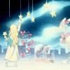 cerusee: a blonde woman hanging stars in a cartoon sky (art)