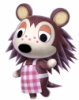 blueberrybones: A computer generated model of a cartoon hedgehog in an apron. Her name is Mable and she's from the game Animal Crossing. (Mable)