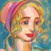 farouche_bravoure: Fantine with bonnet in rainbow colors (0)