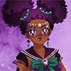 mythicgeek: image of an original sailor moon character, black woman with purple and black afro puffs, dressed as a sailor senshi (Default)