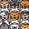 bellflower: Multiple cartoon cats facing the screen ([NA] All the kitties!)