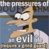 revena: Dr. Doofenschmertz wearing his nightguard; text: the pressures of an evil life (require a grind guard) (Doofenschmertz)