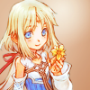 anaraine: A crop of Mist holding a yellow flower, from Rune Factory: A Fantasy Harvest Moon. ([rune factory] mist)