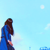 cerusee: a young asian woman in a schoolgirl uniform looking up over her shoulder at a blue sky and a full moon (moon in day, please save my earth, i keep dreaming)