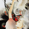 cerusee: a white woman with long white hair reaching up to touch a white swan with red berries in the background (storytelling)